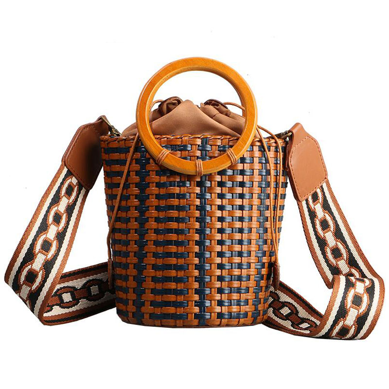 Women Genuine Leather bag 2019 new hand-woven handbags Portable rattan bucket bag handbagWomen Genuine Leather bag 2019 new hand-woven handbags Portable rattan bucket bag handbag