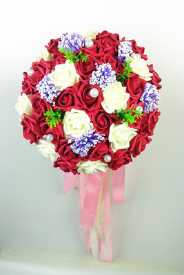2017 Cheap Wedding Bouquet Bridal Bridesmaid White/Pink/Red/Blue ...