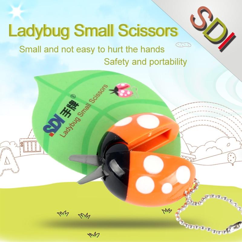Scissors Taiwan SDI Cartoon Ladybug Small Scissors For Needlework Knutselen Kinderen Students & Children Supplies DIY 1PCS