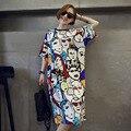 2016 Nuevas mujeres de la Moda Vestido de Verano de La Camiseta Suelta de Manga Corta Impresa O-cuello de Ropa para Señora Fashion Tops D562
