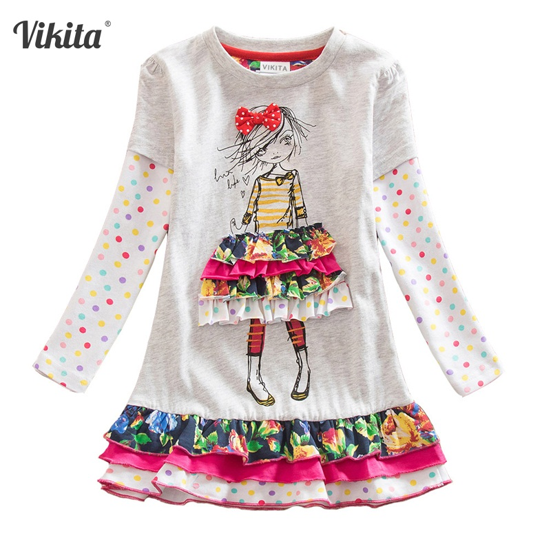 4-8Y Retail Dresses for Girls Cotton Child Kids Dress Baby Children Dresses Neat Long Sleeve O-neck Girls Dresses LH3660 Mix 4 8y retail dress for girls baby girl children tutu dresses princess party dresses vestidos kids girls clothes neat sh5460 mix