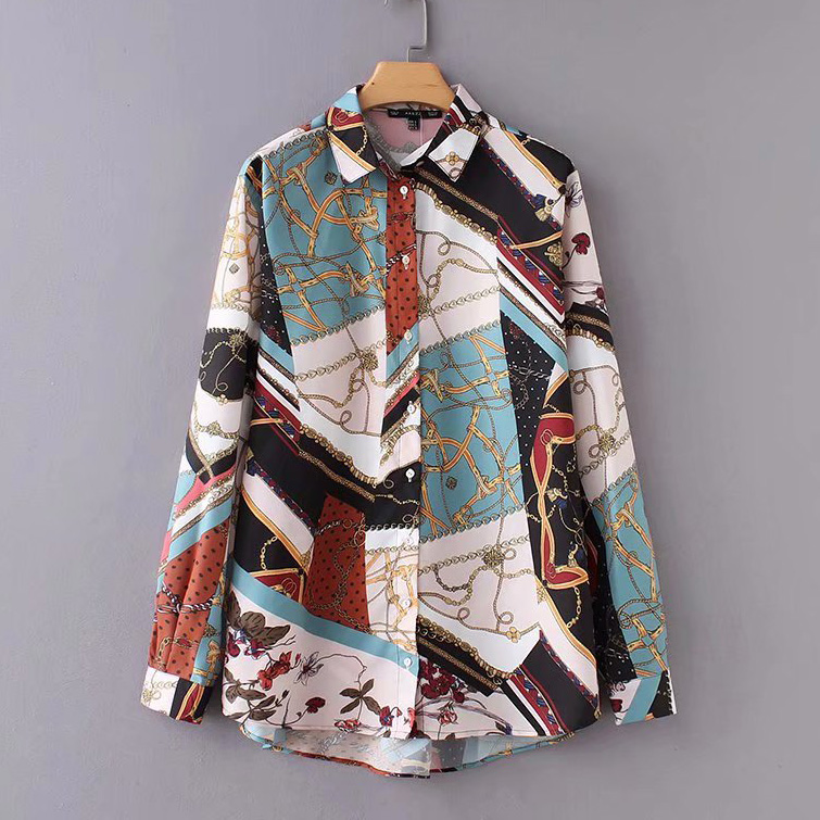 women vintage chain patchwork print smock   Shirt     blouses   women business casual femininas blusas long sleeve retro tops