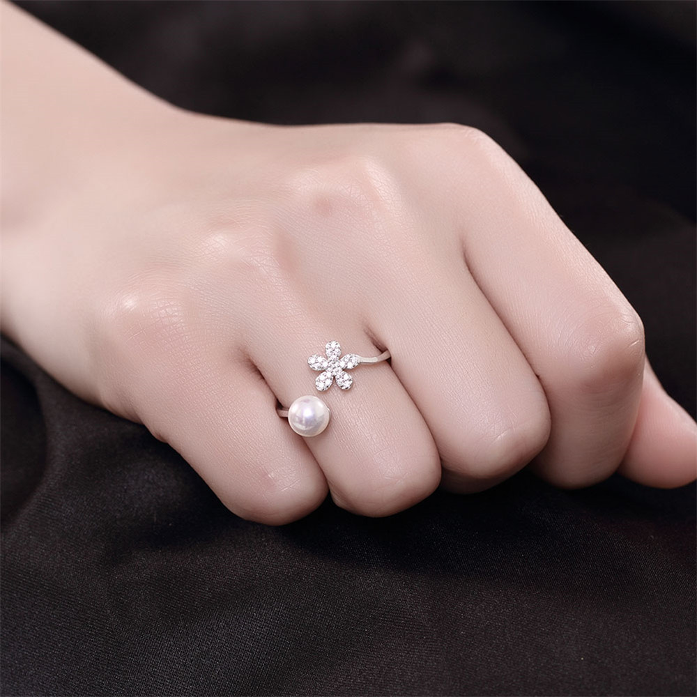 MOLIAM Fashion Simulated Pearl Ring Women Real 925 Sterling Silver ...