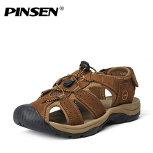 PINSEN Brand Genuine Leather Men Shoes Summer New Large Size Men's Sandals Men Sandals Fashion Sandals And Slippers Size 38-45