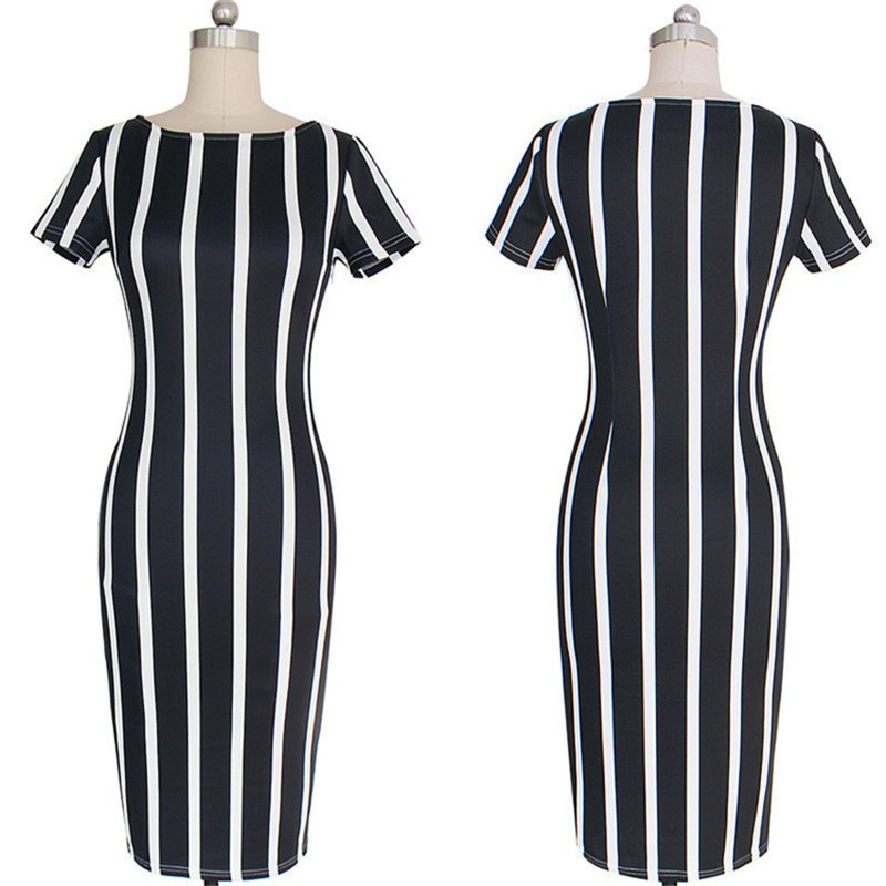 New Women Vertical Striped Fitness Bodycon Dresses Work Style Sexy Short Sleeve Sheath Office Midi Summer Dress Plus Size DWA23 (2)