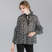 2019 Large size womens Spring new loose show thin Lotus leaf chiffon Tops bandage georgette Plus fashion casual top