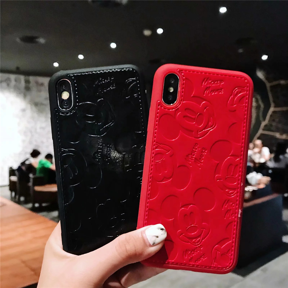 Mobile Phone - Cartoon Mickey Minnie Mouse Leather Case For iPhone 8 7 6 6S Plus X Xs Max XR 3D embossing Disneys Painting Soft leather Cover