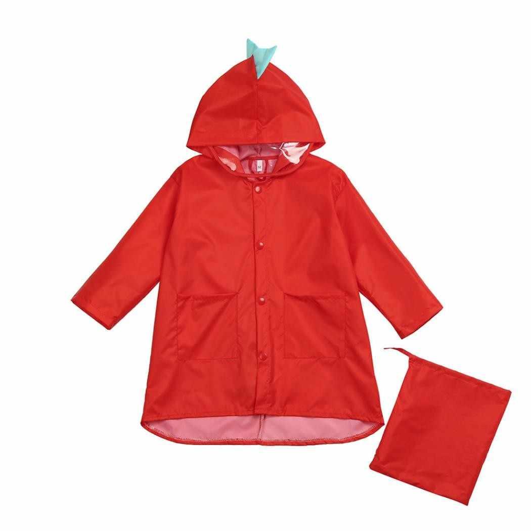 Lucu Dinosaurus Nilon Tahan Air Jaket Jas Hujan Anak Anak Windproof TK Pakaian + Tas Mahasiswa Bayi Jaket Jas Hujan