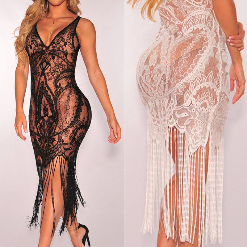 2019 Hot Brand Women Bandage Bodycon Hollow out Lace Crochet Bathing Suit Bikini Swimwear Cover Up Beach Dress Soft Sundress