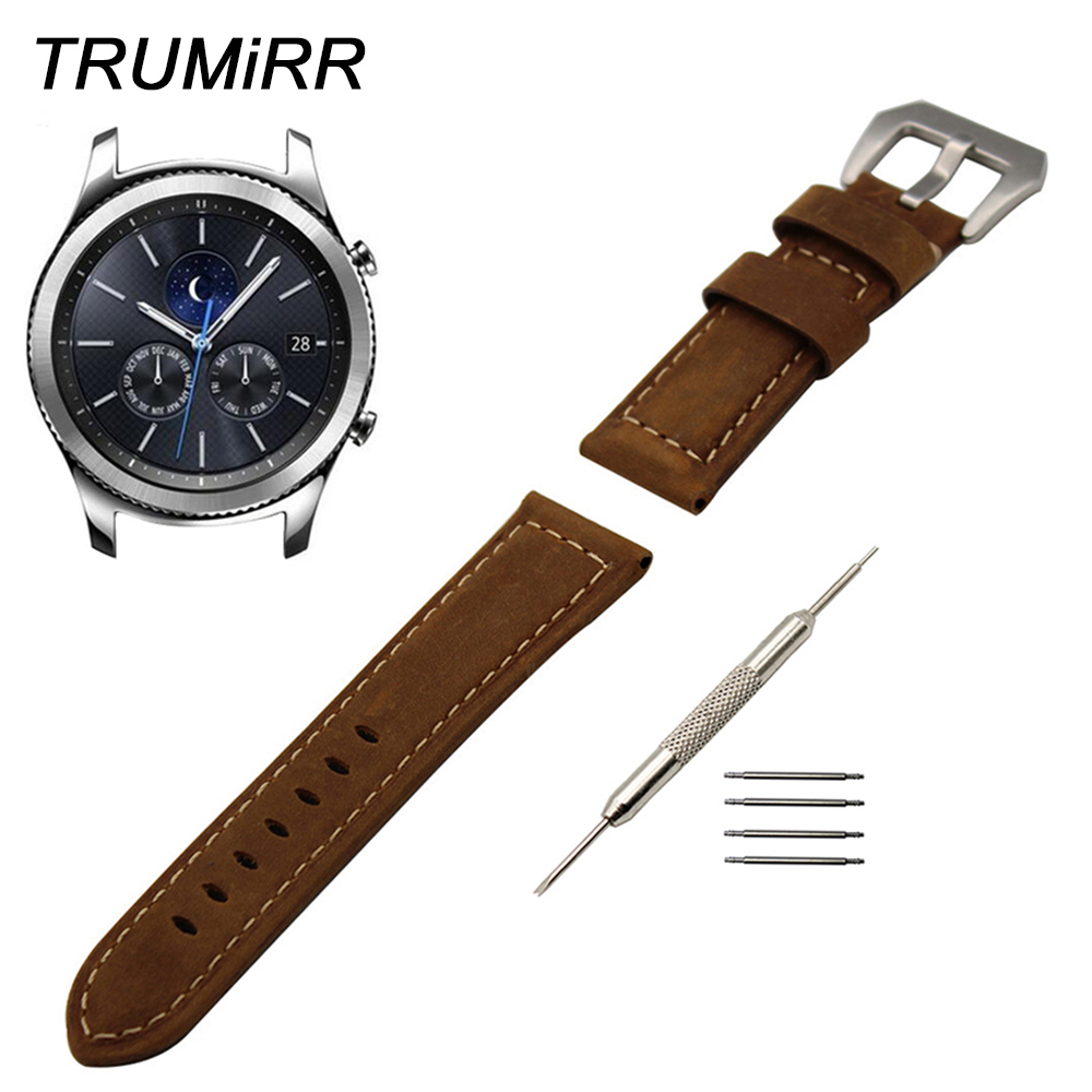 22mm Italy Genuine Leather Watch Band for Samsung Gear S3 Classic Frontier Garmin Fenix Chronos <font><b>PAM</b></font> Buckle Strap Wrist <font><b>Bracelet</b></font> image