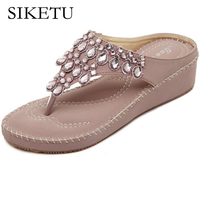 SIKETU 2017 New Comfortable Wedges Beach Sandals Bohemian Sandals Beaded Sweet Casual Fashion Sandals Slippers