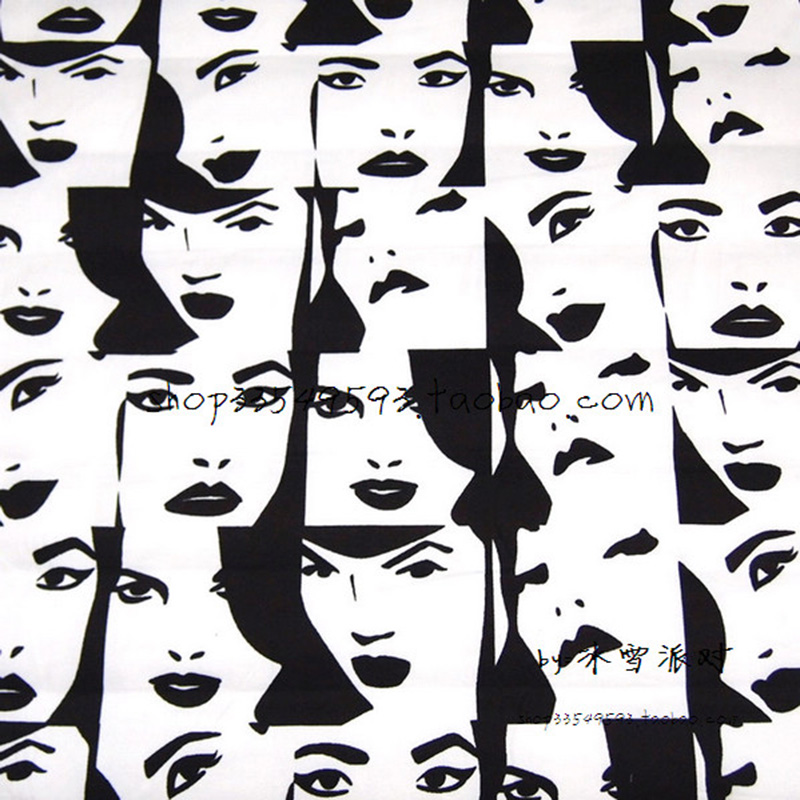 Bred 130 cm Cartoon Beauty Face Fabric 100% Cotton Fabric Satin Quilting Hjem Klut Tekstil Lappverk DIY Sying Baby klær