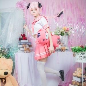 Image 3 - Black Knight Apocrypha Astolfo Cosplay Costume Japanese Student Girl School Uniform Wig Bow Halloween Sailor Suit Full Set 2018