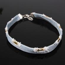Punk Hippie Choker Necklaces for Women Denim Blue Chain Harajuku Gothic Jeans Collar Chokes Necklace Neck Accessories 6L5036