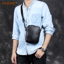 PNDME casual first layer cowhide mens diagonal bag simple fashion soft genuine leather black light small shoulder messenger