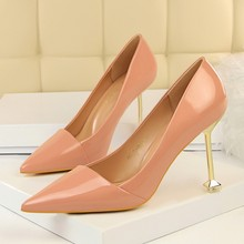 Fashion Women High Heels Sexy Pumps Patent Leather Thin Heels Wedding Shoes Pumps Black Nude Shoes Heels High Quality DS-A0117 недорого