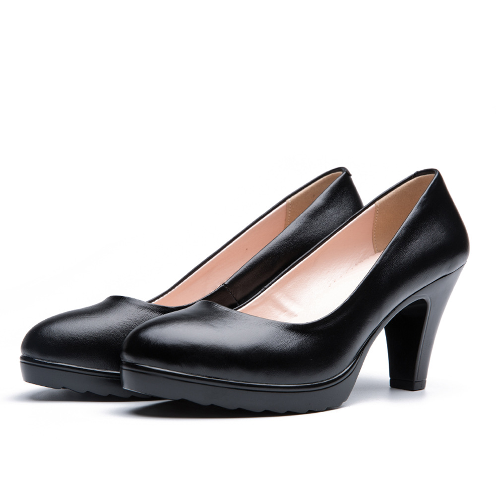 2018 Comfortable Women Black Genuine Leather High Heels Woman Casual Nurse Work Shoes Bridal Shoes Chaussure Femme Talon tree branch pearl brooch
