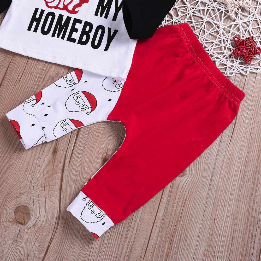 2019 תינוק ילד חג המולד בגדי תינוקות חג מולד יילוד תינוק ילד ילדה מכתב טלאי חולצות Cartoon מכנסיים בגדי סטים