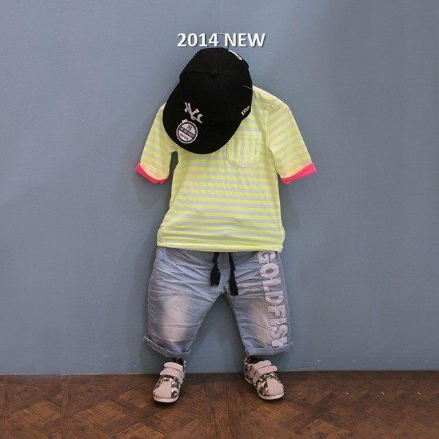 Collcction vêtement enfant bébé garçon enfant néon rayure marine T-shirt à manches courtes
