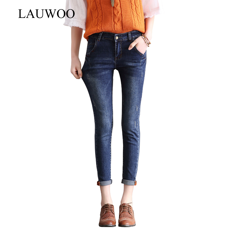 LAUWOO 2017 Ripped Jeans For Women Stretch Jeans women skinny pencil pants jeans  Capri pants Femme - Popular Women Capri Ripped Jeans-Buy Cheap Women Capri Ripped