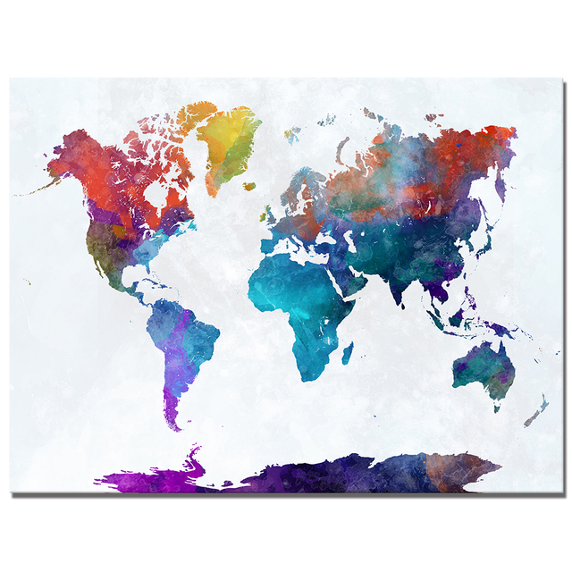 DIY Frame Watercolor World Map Canvas Painting HD Digital Printing