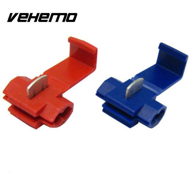 20Pcs Red Blue locks Wire Electrical Cable Snap On Connector Crimp ...