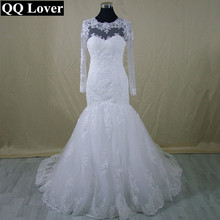 QQ Lover 2017 New Long Sleeve Mermaid Lace Wedding Dress Custom-made Bridal Gown Vestido De Noiva