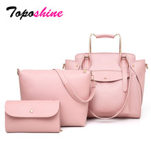 Toposhine 2018 New Composite Bags Buy 1 Get 3 Women Handbags Solid Quality PU Leather Female Shoulder Bag Casual Ladys Big Totes(China)