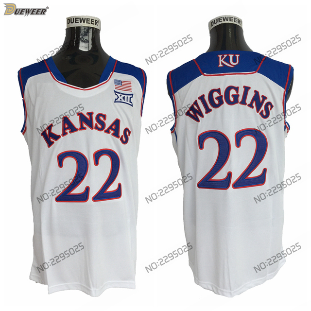 3225f64229a DUEWEER Mens Kansas Jayhawks Andrew Wiggins College Basketball Jersey Cheap  White 22 Andrew Wiggins Basketball Stitched Shirts