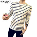 2016 New Arrival Autumn T-Shirt Men Fashion Long Sleeve T Shirt Men Casual Slim Fit Striped Male Tshirt Plus Size