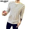 2016 Novos Chegada do Outono T-Shirt Dos Homens de Moda Manga Longa T Shirt Dos Homens Casual Slim Fit Striped Camiseta Masculina Plus Size