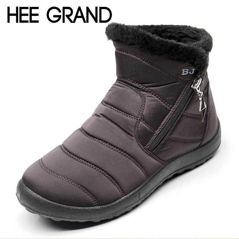 HEE GRAND Flock Winter Warm Faux Fur Snow Fashion Solid Ankle Boots Casual Women Mother Flats Shoes Woman Size 35-43 XWX6806 women snow boots faux fur ankle boots winter warm cotton flock shoes woman slip on flats shoes large size