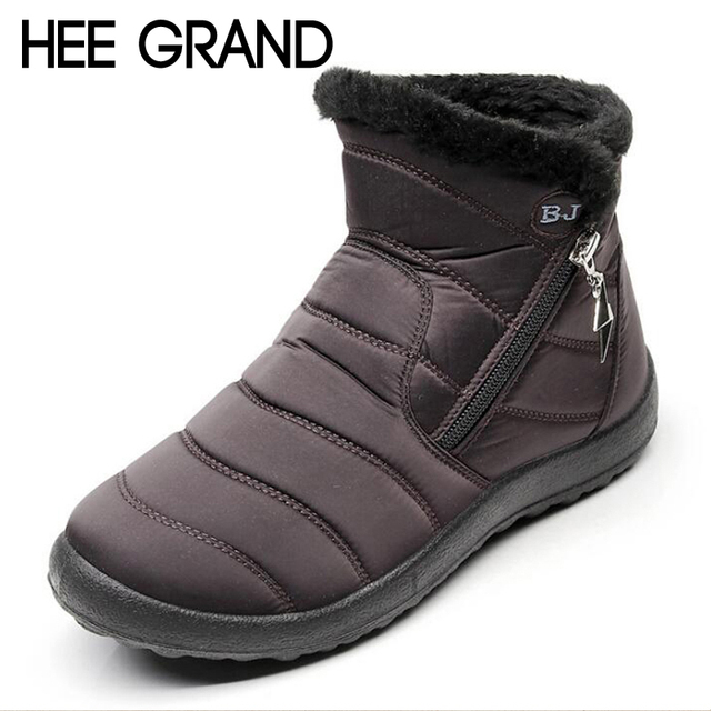 aa60b0e83 HEE GRAND Flock Winter Warm Faux Fur Snow Fashion Solid Ankle Boots Casual  Women Mother Flats Shoes Woman Size 35-43 XWX6806