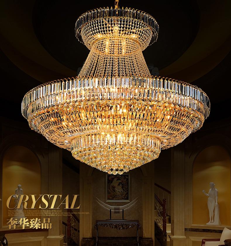 Modern Emas Kristal Chandelier Lampu Fixture Droplight Bulat Besar - Pencahayaan dalam ruangan - Foto 2