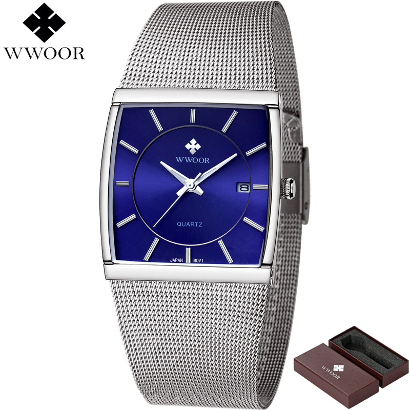 Classic Style Men Square Waterproof Business Quartz Watch Men Brand Luxury WWOOR Date Blue Clock Steel Strap Male Sports Watches 2017 luxury brand binger date genuine steel strap waterproof casual quartz watches men sports wrist watch male luminous clock