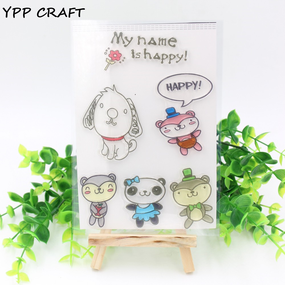 YPP CRAFT 1 Sheet Transparent Clear Silicone Stamps for DIY Scrapbooking/Card Making/Kids Fun Decoration Supplies Lovely Animals