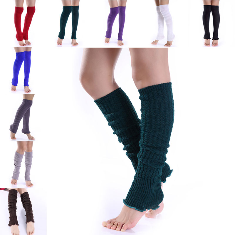 1pair Fashion Leg Warmers Woman Long Stockings Popular Hemp Flowers Knitting Step Foot Winter Warm Stocking  H9