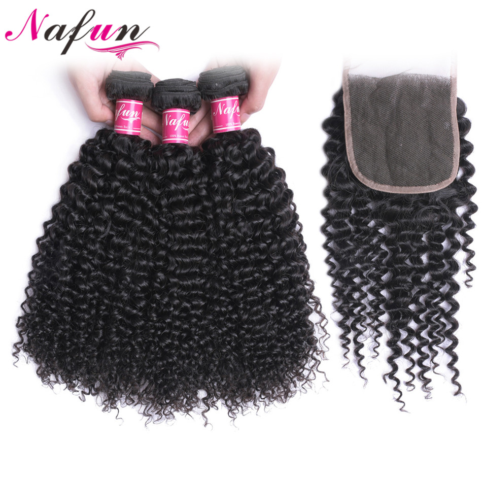 NAFUN Brazilian Kinky Curly Hair Bundles With Closure Remy Hair Extensions Human Hair 3 Bundles With