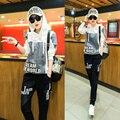 2016 Moda Senhora Mulheres Treino letras impressão Moletom com capuz + Calça terno de Trilha 2 Peça Definir sportwear para as mulheres mais tamanho