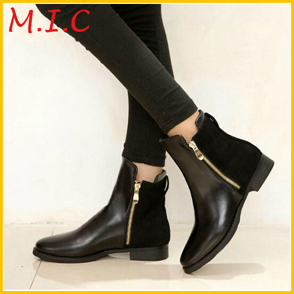 2014 autumn fashion ankle leather boots for thick
