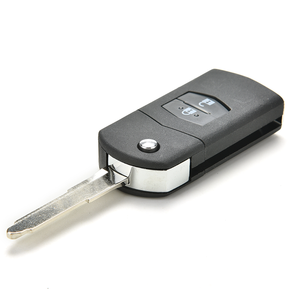 Remote Key Fob Shell Case Folding Flip With Uncut Blade For Mazda 3 5 6 2 Button image