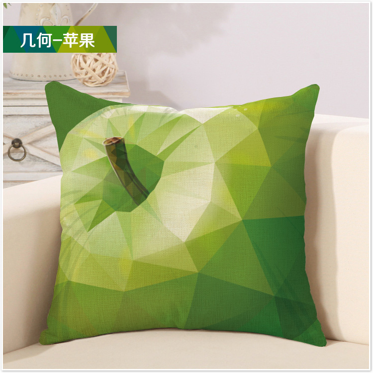 Green Apple Fruit Appetite Orexis Painting Geometry Pillow Cover Classy Apple Green Decorative Pillows