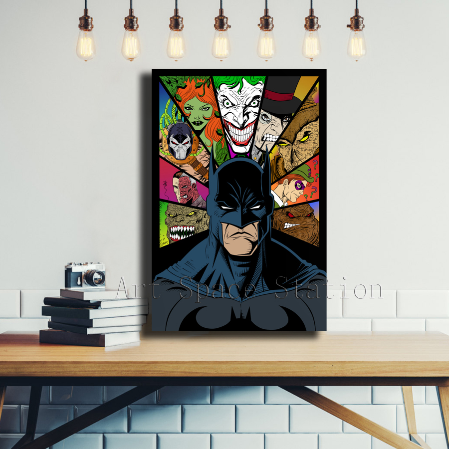 batman comics poster american style painting print poison ivy joker movie art pictures framed for living