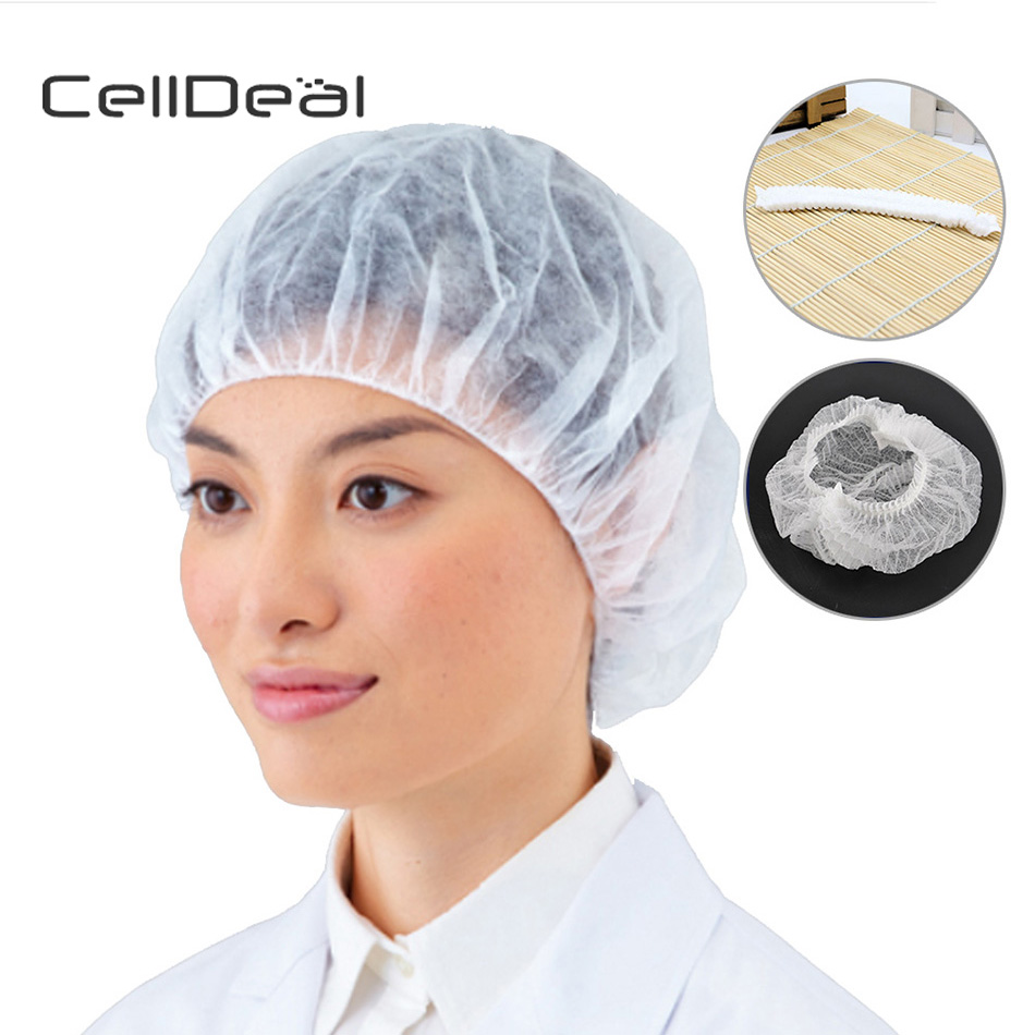 CellDeal 100x Disposable Shower Caps Hair Nets Beauty Salon Spa Head Cover Hats Mop Hygiene Disposable Shower Caps