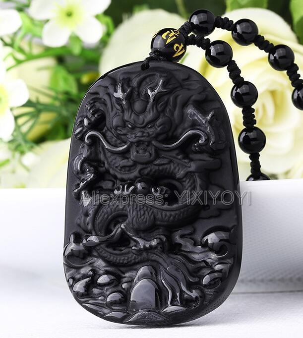 Drop Ship Beautiful 55x42mm Chinese Handwork Natural Black Obsidian Carved Dragon Amulet Lucky Pendant + Beads Necklace Jewelry