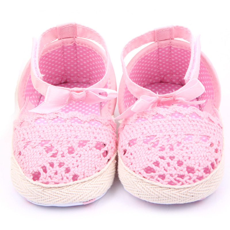 Toddler Baby Girl Soft Sole Crib Anti-slip Crochet Knit First Walkers Anti-Slip Solid Shoes