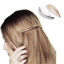 1 pcs Womens Metal Hair Clips Golden Tone Silver Plated Tube Shape Girls Barrette Hairgrip Female Hairpins