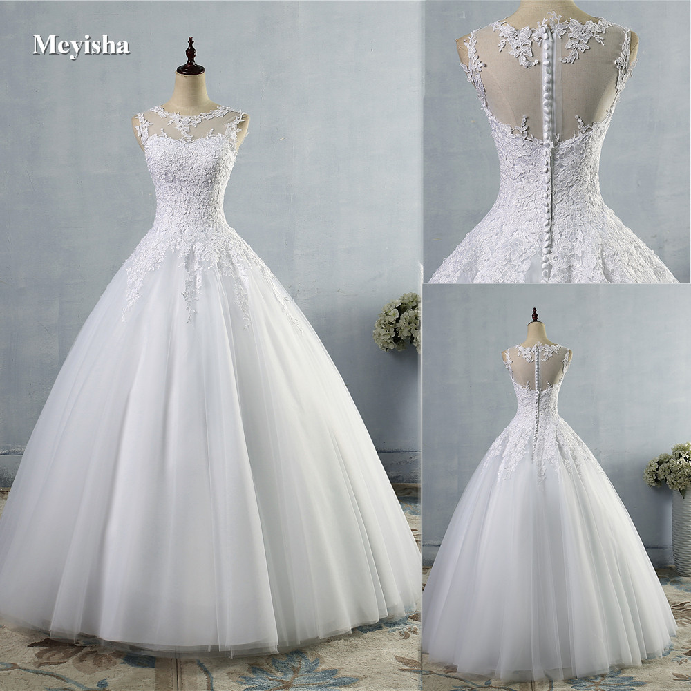 ZJ9036 Sweetheart White Ivory Lace Wedding Dresses Tulle