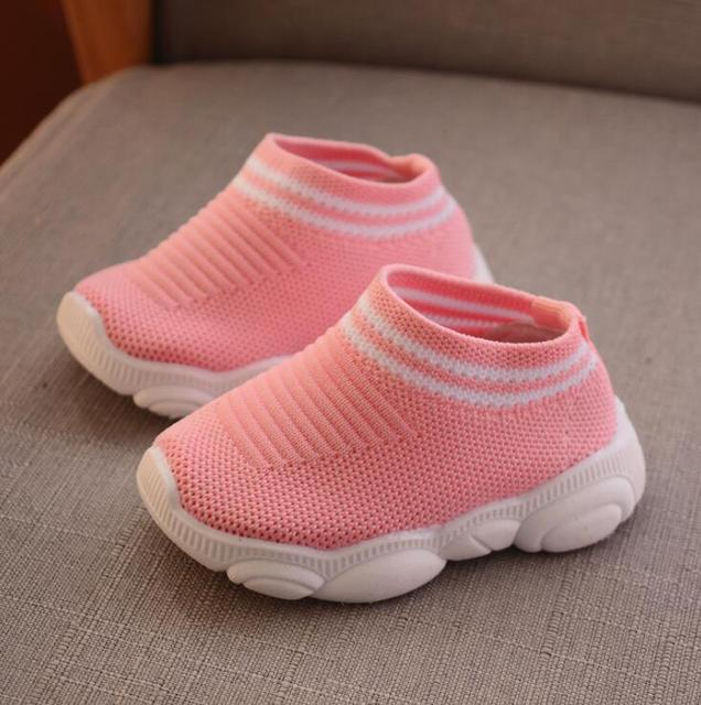 2019 new spring bear shoes female baby soft bottom socks stripe boy sleeve toddler shoes 2