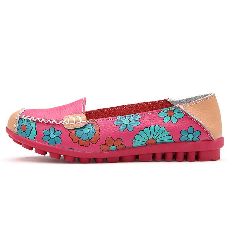 Kadın düz ayakkabı yeni moda bale yaz çiçek baskı kadın ayakkabı hakiki deri loafer'lar bayanlar flats ayakkabı kadın